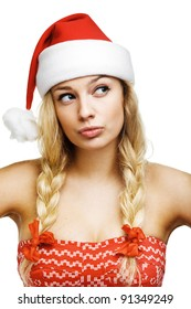 sexy woman dressed as Santa Claus on a white background