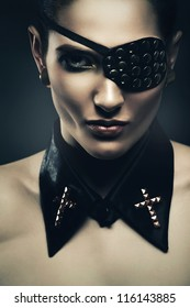 sexy woman with eye-patch and collar