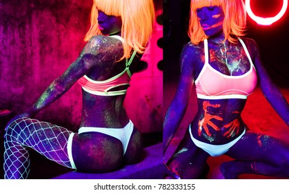 Sexy woman with fluorescent make up face and body in orange wig, creative makeup look great for nightclubs. Halloween party, shows and music concept