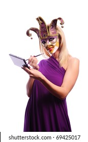 sexy woman in half mask from Venice isolated on white. good use for make-up concept