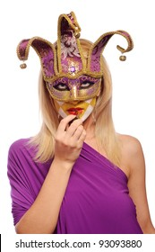 sexy woman in half mask from Venice isolated on white. may be use for fashion make-up concept