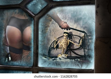sexy woman harassing scary skeleton in horror house