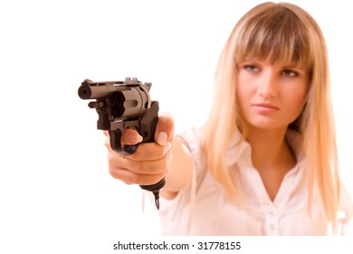Sexy Woman Holding Gun over white