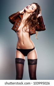 sexy woman in jacket