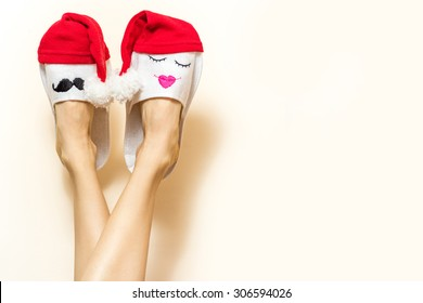 Sexy woman legs. Christmas shopping concept background with copy space. creative idea