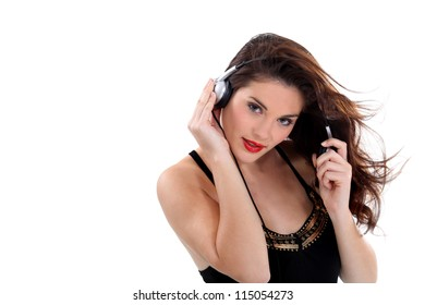 Sexy woman listening to music