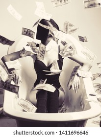 Sexy woman lying in dollar bills. Rich sexy woman lies on money. Sexy female and dollar bills. Woman with lot of money. Millionaire woman lying in bedroom. Black and white.