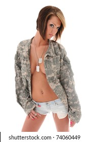 Sexy Woman in Military Jacket and Jean Shorts