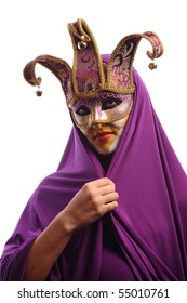 sexy woman in mystery violet half mask, isolated on white