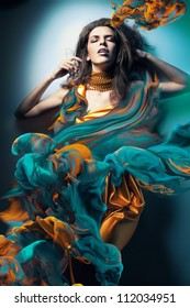sexy woman in paint waves