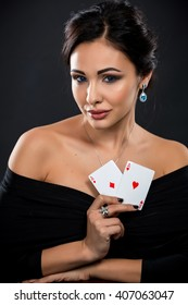 sexy woman with poker