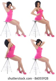 Sexy woman posing on a stool