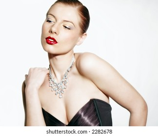 Sexy woman with red lips on white background, very beautiful image