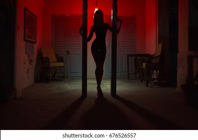Sexy Woman Silhouette Dancing at the Hotel. Pole Dancer female Stripper in the Night. Sensual Red light, noir style. Beautiful Dancing Girl with Sexy Body. Hot Erotic Private dance, striptease