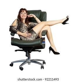 Sexy woman sitting on luxury office armchair, isolated over white background