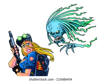 sexy woman soldier with futuristic gun and scary ghost