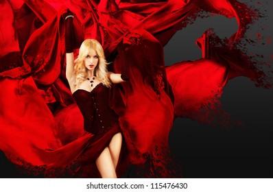 Sexy Woman with Splashing Red Silk