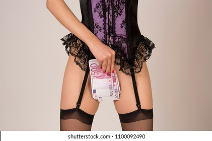 Sexy woman in stocking. Seductive woman ass. Sexy slut with money. Striptease woman. Dress off for euro money. Prostitute woman