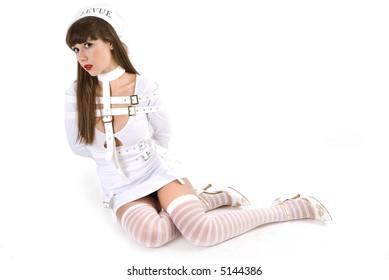 Sexy woman in strait-jacket
