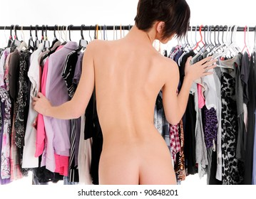 Sexy Woman trying to decide on what to wear