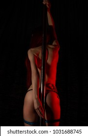 sexy woman in underwear with money tucked in her panties. nightclub striptease dancer