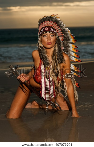 Sexy Woman Wearing American Indian War Stock Photo Edit Now