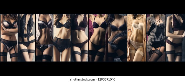 Sexy women in beautiful lingerie. Erotic underwear collage.