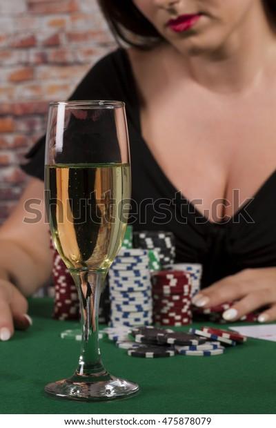 Phenomenal Sexy Women Glass Drink Poker Table Stock Photo Edit Now Home Remodeling Inspirations Basidirectenergyitoicom