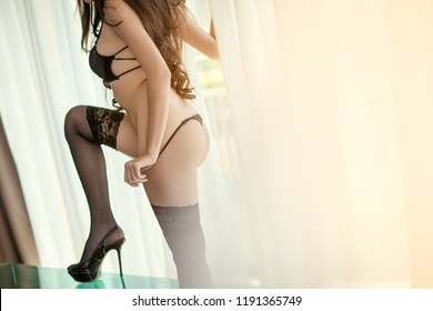Sexy Women with hairy arms .Portrait of fashion model girl indoors . Sexy beautiful Thai woman in black panties and bra. selective focus