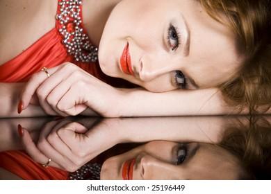 sexy women in red dress