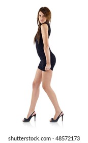 sexy women in short dress on white background