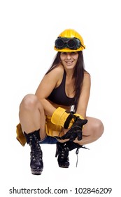 Sexy worker posing against a white background