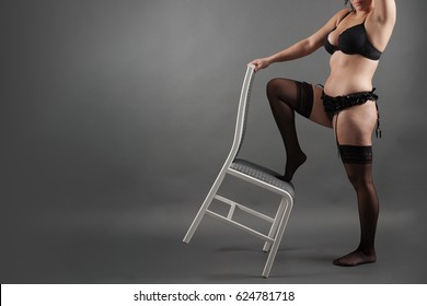 Sexy xxx plump young bbw girl in black lingerie and stockings