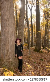Sexy young blonde woman in stunning black dress and over the knee boots wears a colorful hat in the autumn woods - fall fashion - sun shining through trees above model