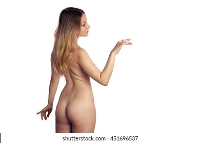 sexy young blonde woman without clothes isolated on white background