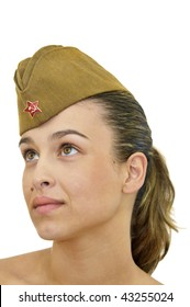Sexy young girl with army hat isolated in white