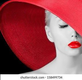 sexy young girl in red hat with red lips