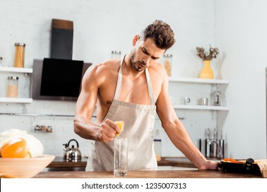 Cooking Nude guys apron in