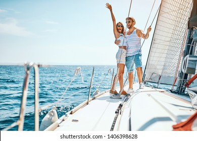Sexy young man and woman on the luxury boat
