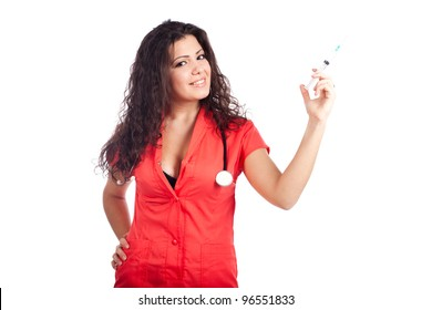 d5ce5732140 Sexy young nurse or medical woman doctor with big breasts, wearing  tangerine tango orange uniform