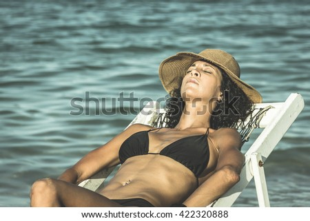 Male bikini beach model hammock
