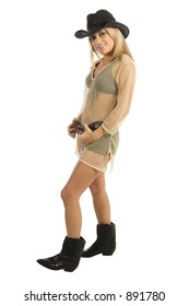 Sexy young woman with blond hair wearing a brown Bikini by Swimbay and a Cowboy hat image contains clipping path