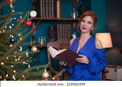 sexy young woman celebrating christmas