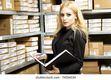 Sexy young woman doing inventory