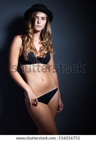 b9f195405 Sexy Young Woman Lingerie Hat On Stock Photo (Edit Now) 156016751 ...