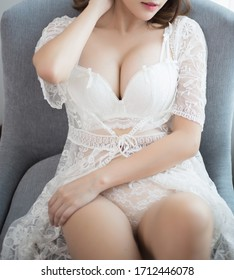 sexy young woman model in sexy white lingerie.