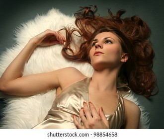 sexy young woman on dark background