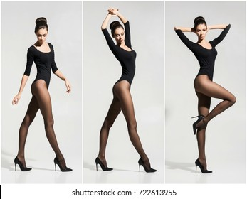 Sexy young woman posing in hosiery and erotic underwear in studio. Set collection.