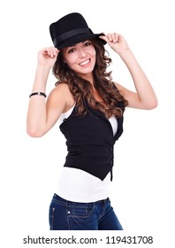 Sexy young woman wearing black hat over white background