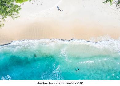 Seychelles beach aerial photo from above Mahé Mahe island vacation paradise ocean drone view photography